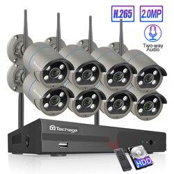Techage 8CH 1080P Macchina Fotografica Senza Fili Sistema NVR 4 Array LED 2MP Wifi 2-Way Audio Video Esterna CCTV di Sorveglianza di Sicurezza Kit