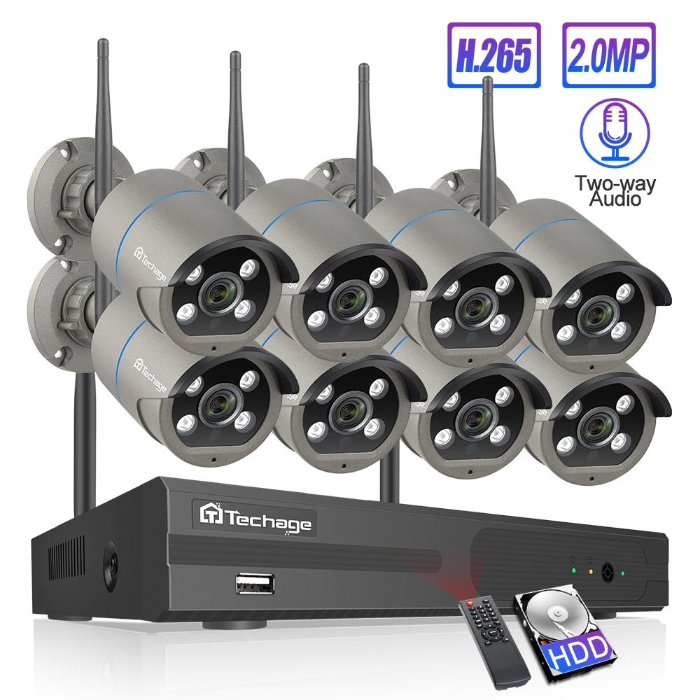 Techage 8CH 1080P Wireless Camera NVR System 4 Array LED 2MP Wifi 2 Way Audio Sound Video Outdoor CCTV Security Surveillance KitSurveillance System   -