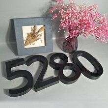 black Metal 3D modern House Numbers Sign  0-9 ABC Outdoor Waterproof Home Hotel Door Plates Stainless Steel Lettre Addresss недорого
