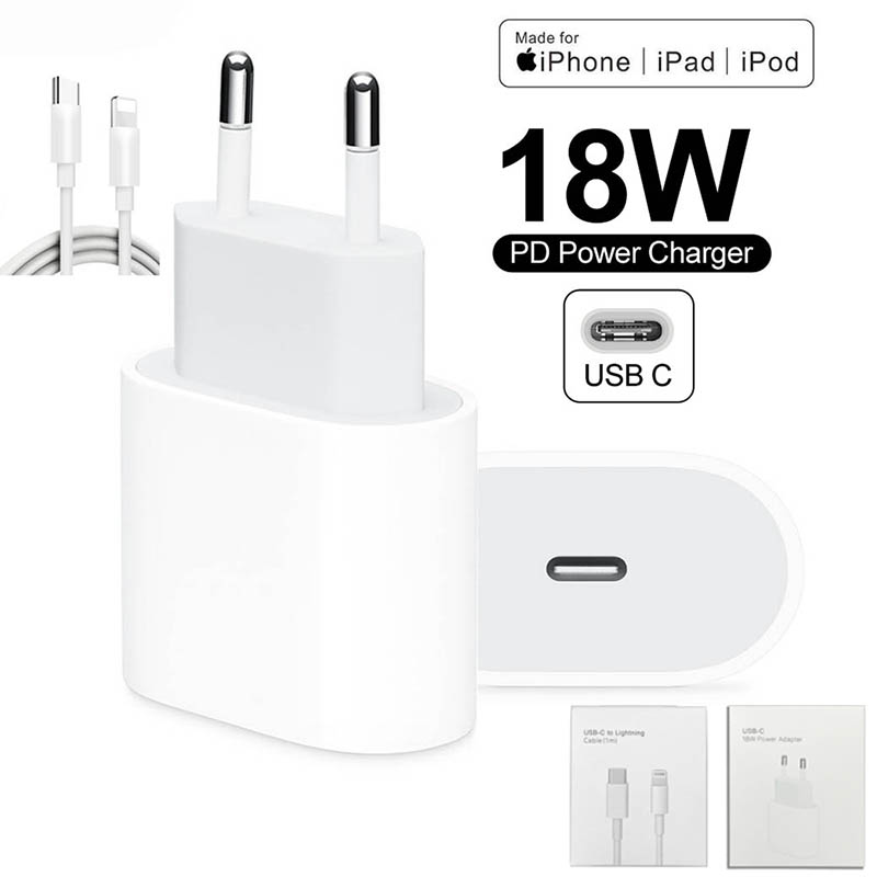 Galleria fotografica Original 18W PD USB Type C Charger Adapter For iPhone 11 Pro XR X XS Max 8 Plus Fast Charging EU Plug Travel Charger for Apple