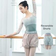 Ballet dupla face calças de suor aquecer shorts de dança do corpo roupas de treinamento adulto mulher perda de peso exercício de dança calças curtas