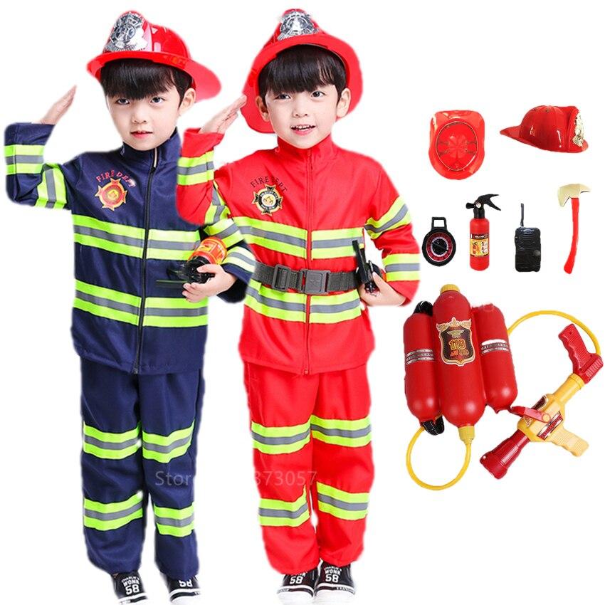 Костюм на Хэллоуин для детей, форма пожарного, Детский костюм Сэма, костюм пожарного, нарядная одежда для ролевых игр, вечерние костюмы для м...