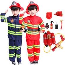 Traje de halloween para crianças bombeiro uniforme crianças sam cosplay bombeiro role play fantasia roupas menino festa fantasia