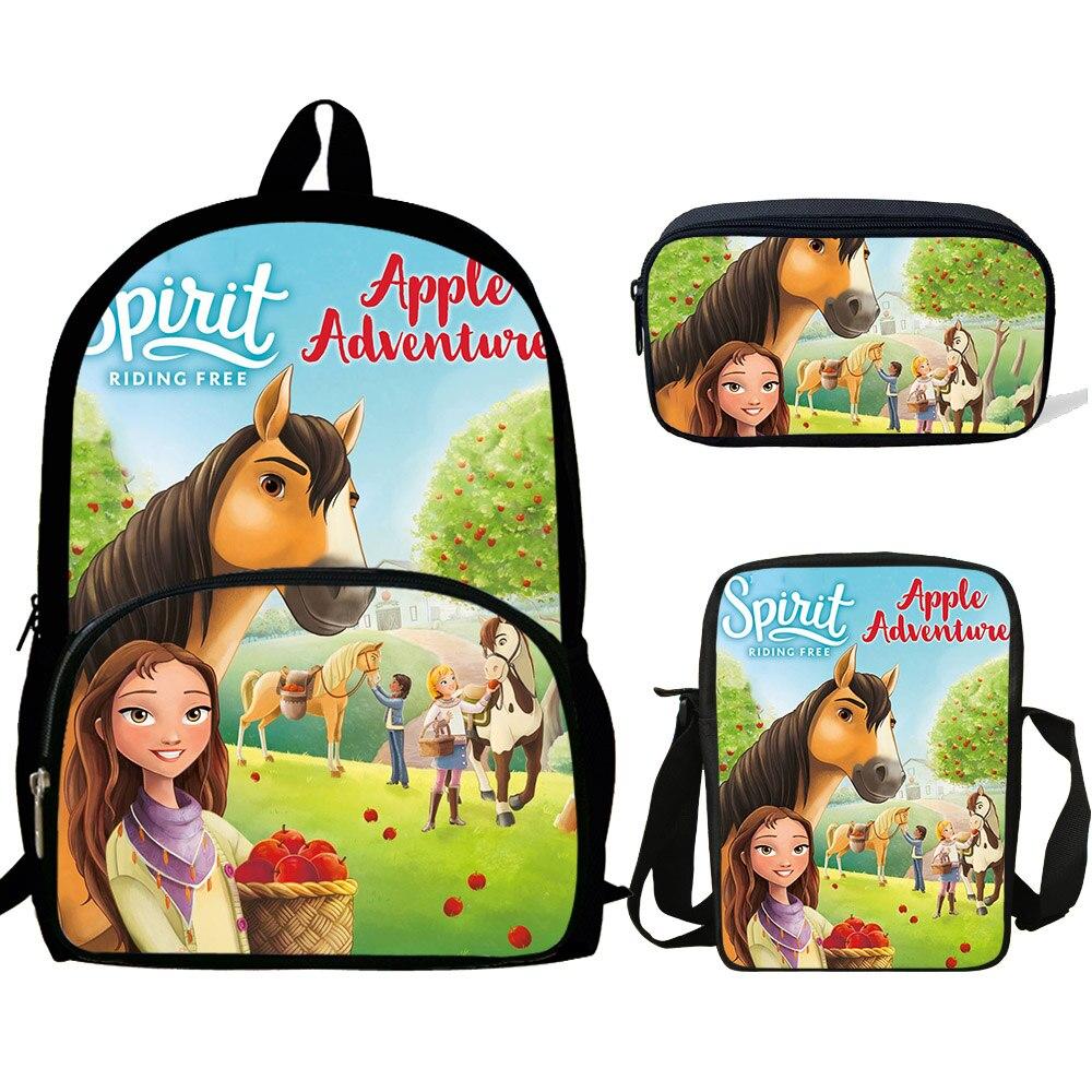 16inch Kids Schoolbags Teenagers Mochila Cartoon Spirit Riding Free Print Backpack For Girls Rucksack 3 Set Gift