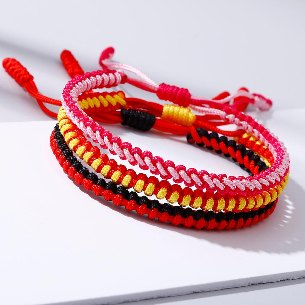 Multicolor Braided Thread Bracelets Charm Adjustable Knots Red Black Rope Tibetan Buddhist Bracelet for Women Men Lucky Jewelry