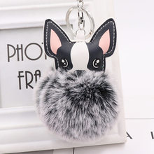 1Pcs Cute black and white Dog Keychain Pompom Rabbit Fur Ball Key Chain Car Keyring Women Key Holder Bag Pendant Charm Jewelery(China)