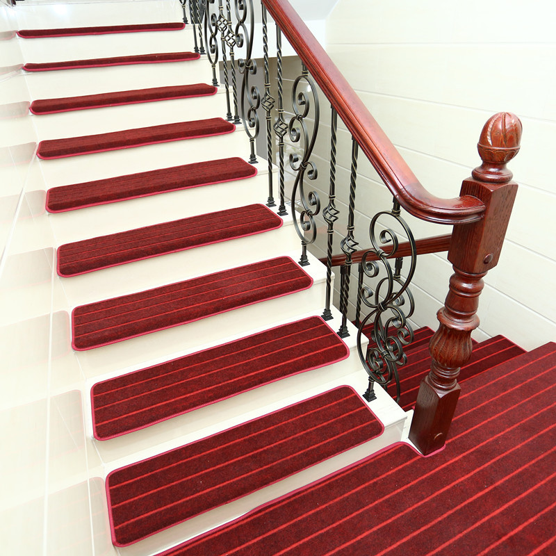 15pcs Adhesive Carpet Stair Treads Mat Non-slip Cover Protection Step Rug