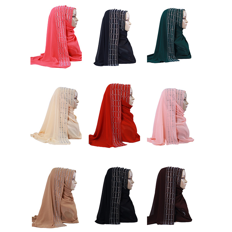 Promotion Sale! Premium Chiffon Scarves With Delicate Rhinestone Headscarf Long Shawls Muslim Hijab For Women Party Wedding