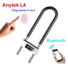 Anytek L4 U Shape Fingerprint Lock App Bluetooth Unlock Smart USB Charge Door Bicycle Motorcycle Lock IP65 Waterproof