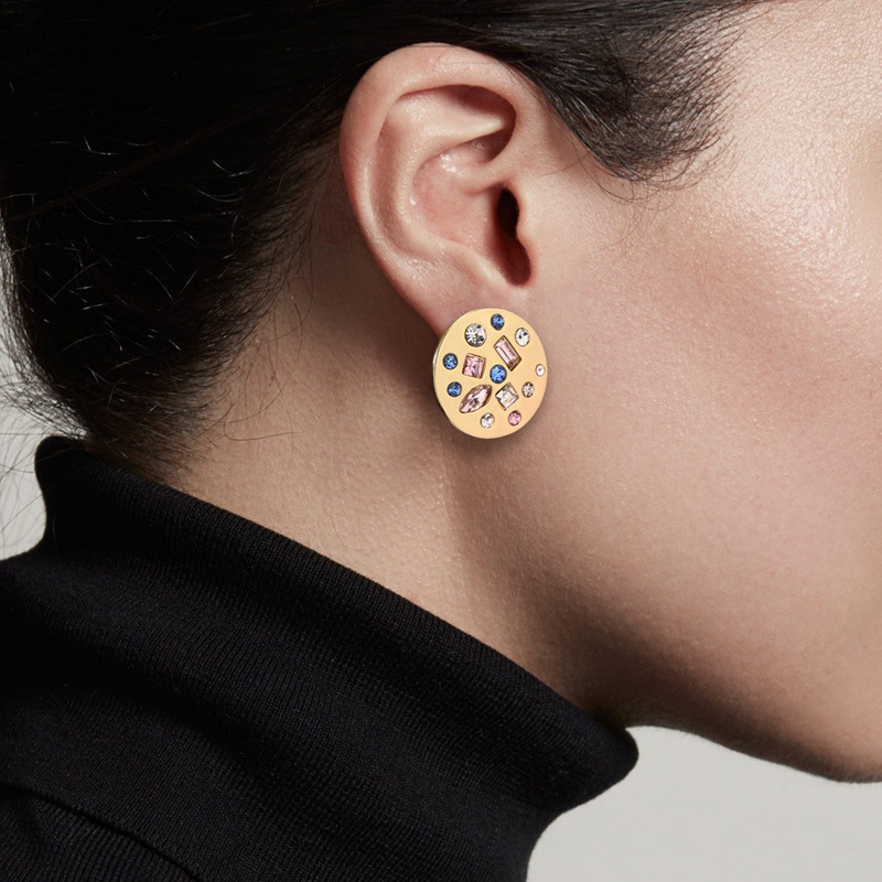 Wing Yuk Tak Fashion Statement Earrings For Women Party Jewelry New Round Colorful Crystal Stud Earrings 2020