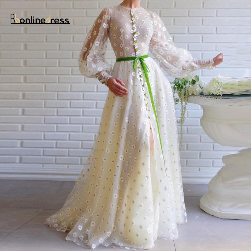Tulle Lace Flower long Prom Dresses Puff Sleeve A Line Belt Maxi Evening Dress Formal Gown Elegant Party Dress Vestidos de festa