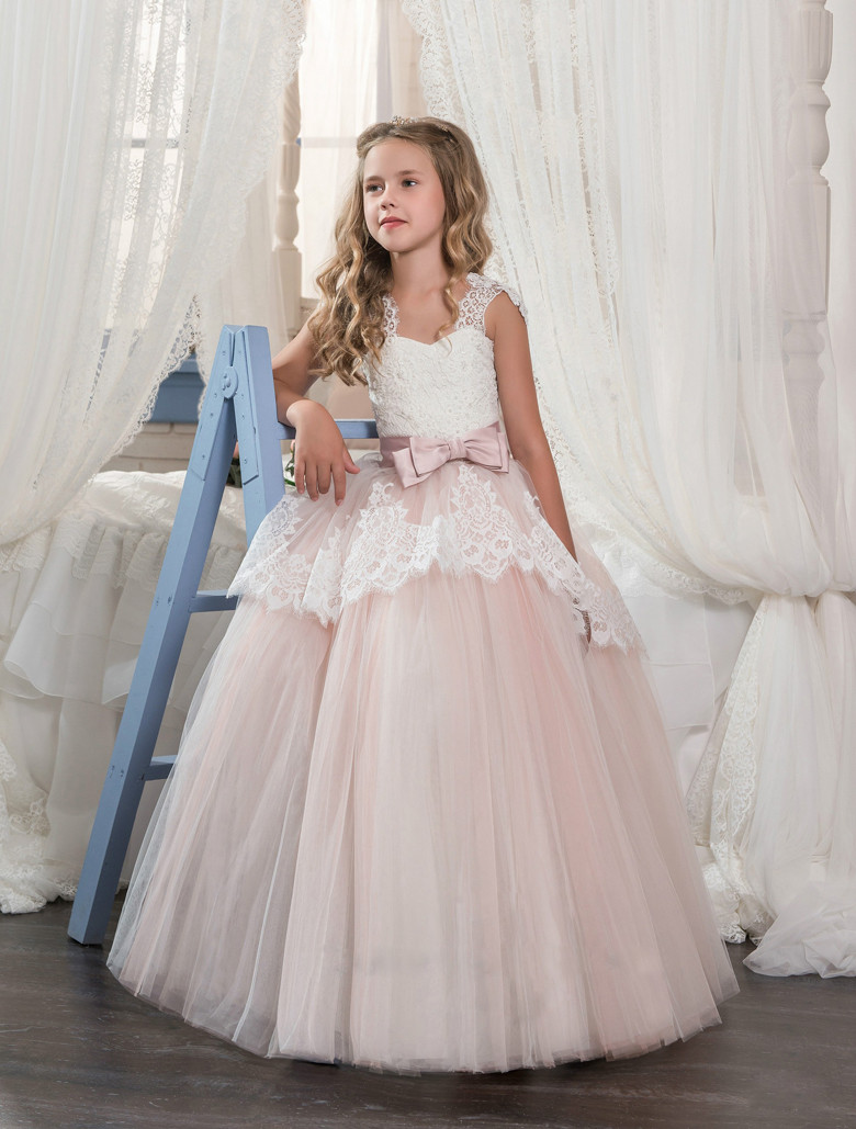 2019   Flower     Girl     Dresses   For Weddings Ball Gown Tulle Cap Sleeves Lace Beaded Bow Long First Communion   Dresses   Little   Girl