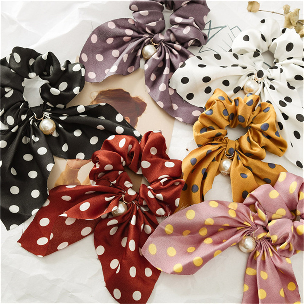 Fashion summer Ponytail Scarf Elastic Hair Rope for Women Hair Bow Ties Scrunchies Hair Bands Flower Print Ribbon Hairbands