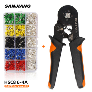 HSC8 6-4 0.08-10mm² tubular crimping plier 1640pcs terminal crimper tool kit mini electrical plier precision clamp Wire stripper non welding crimping with standard electical connection crimping plier crimper capacity 6 5 50 square mm