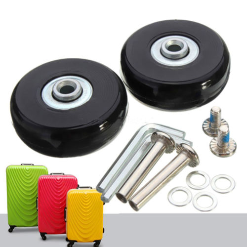 Hot Sale 2 Pcs Black 2 Set Luggage Suitcase Replacement Wheels Suitcase Repair OD 50mm Axles Deluxe Black With Screw