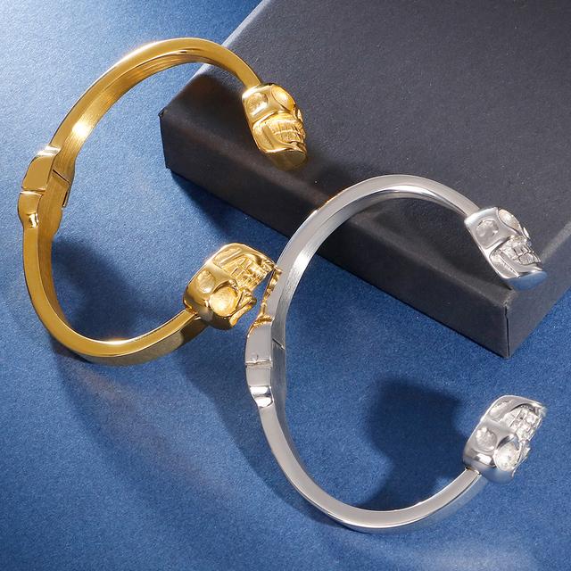 STAINLESS STEEL SKULL HEAD BANGLES BRACELET (2 VARIAN)