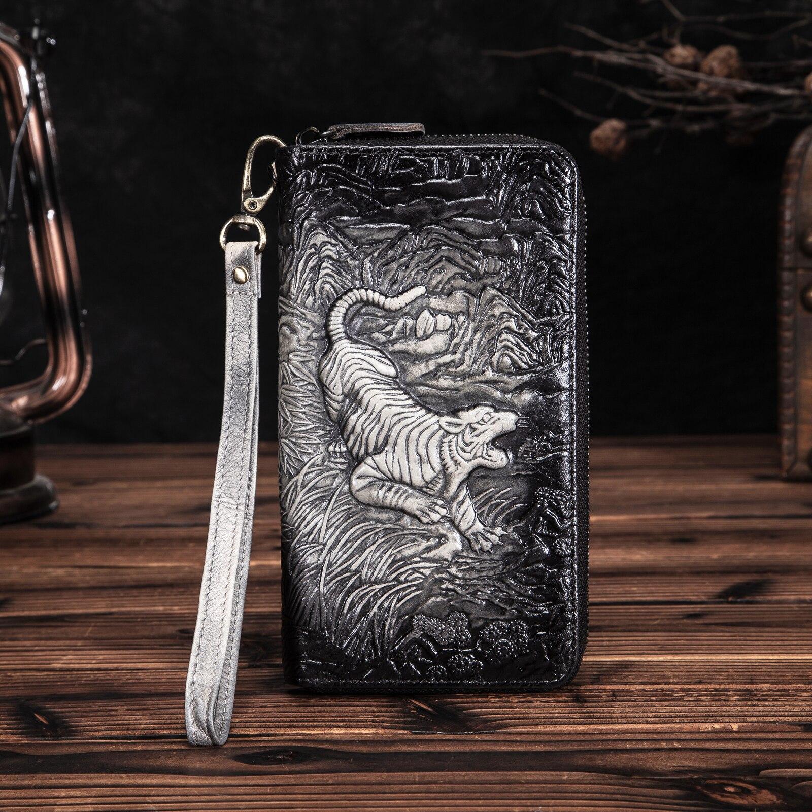 Unisex Original Real Leather Fashion Gift Long Chain Checkbook Zipper Around Organizer Wallet Purse Design Clutch Handbag 1016BT