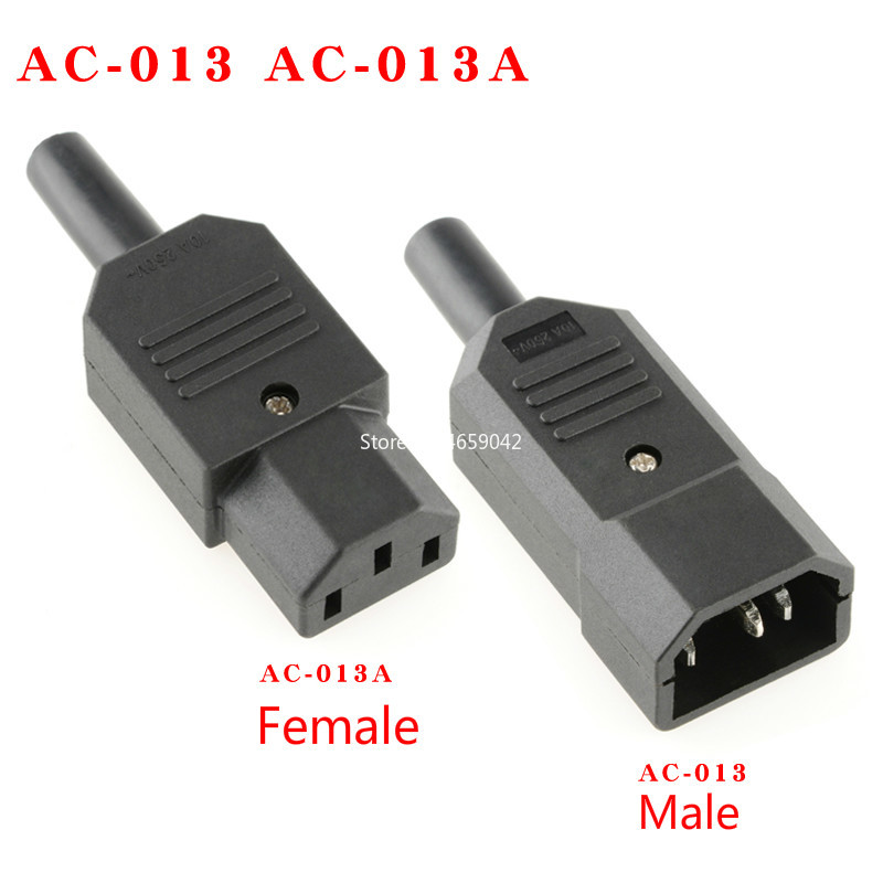 Black 3pin Socket 10A //250V IEC 320 C13 Female Plug Rewirable Power Connector BE
