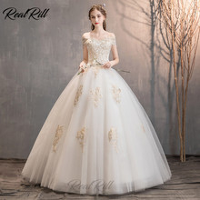 Real Rill Off The Shoulder Wedding Dress 2019Lace Up Back Long Bride With Golden Lace White Gowns For Women