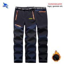 Trousers Customize-Logo Hiking-Pants Trekking Softshell Fleece Outdoor-Sport Waterproof