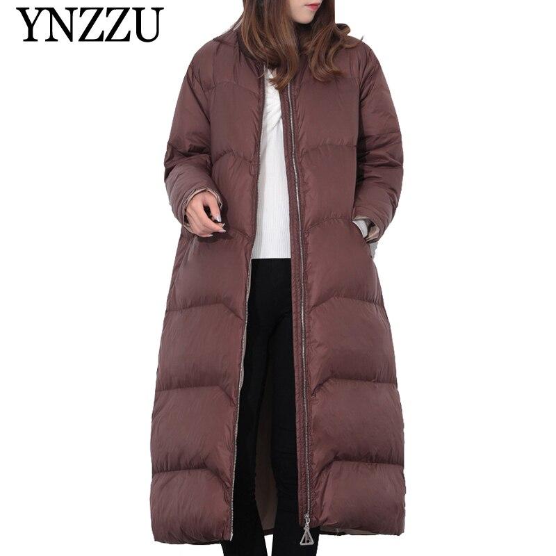 YNZZU Women Thick Warm 90% White duck   Down     Coat   2019 Winter Long Loose Solid   Down   jacket Long sleeve Simple Girls Outwear YO919