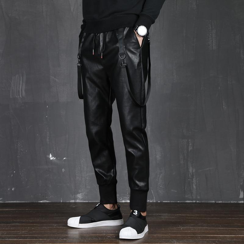 Pu Leather Pants Men Streetwear Slim Fit Elastic Waist Punk Pencil Pants Black Hip Hop Harem Trousers Male Motorcycle Pants 3XL