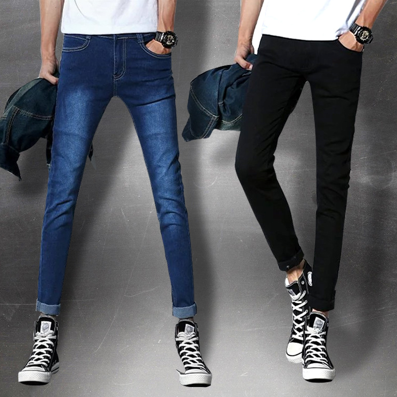 Spring And Summer-Men Elasticity Jeans Slim Black Skinny Casual Pants Korean-style Handsome Trend Straight-Leg Trousers
