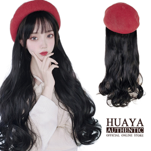 HUAYA Red Beret Long Wavy Hat