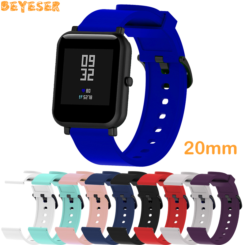 For Samsung Galaxy Watch Active <font><b>2</b></font>/Gear Sport 20mm Silicone strap replacement For Huami <font><b>Amazfit</b></font> Bip <font><b>BIT</b></font> PACE Lite youth wristband image