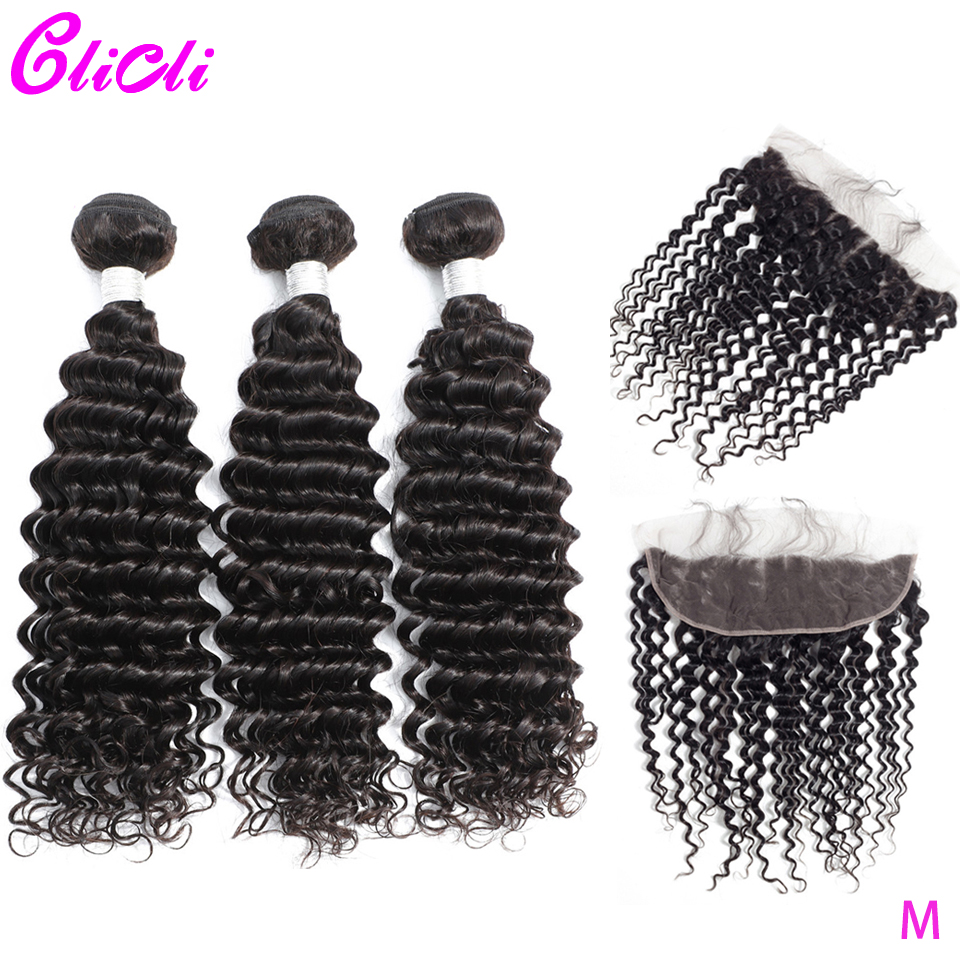 Malaysian Deep Wave Bundles With Frontal Closure Remy Human Hair 3 Bundles With Frontal Pre Plucked 13x6 Ear To Ear Lace Closure