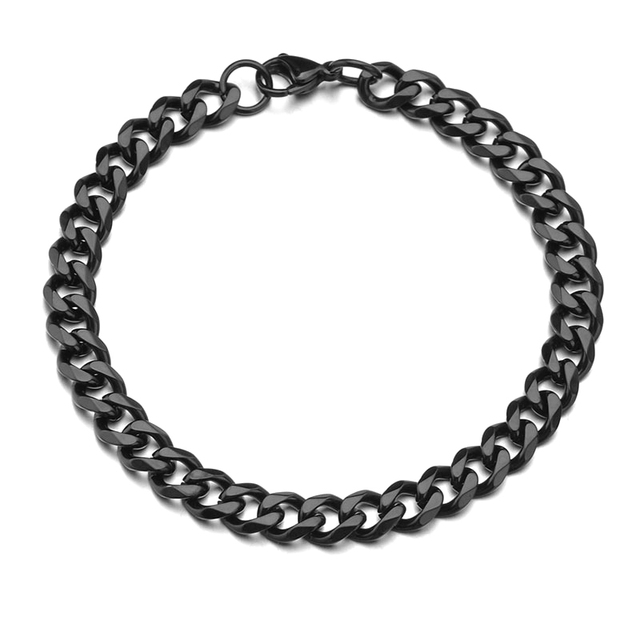 High Quality Stainless Steel Bracelets For Men Blank Color Punk Curb Cuban Link Chain Bracelets On the Hand Jewelry Gifts trend 5