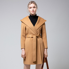 Women's wool coat in long autumn and winter new hooded jacket thickening