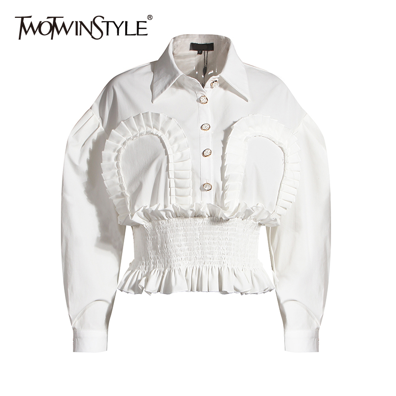 TWOTWINSTYLE Vintage Patchwork Ruched Tops For Women Lapel Puff Sleeve Tunic Elegant Shirt Femaele 2020 Autumn Fashion New Tide 1