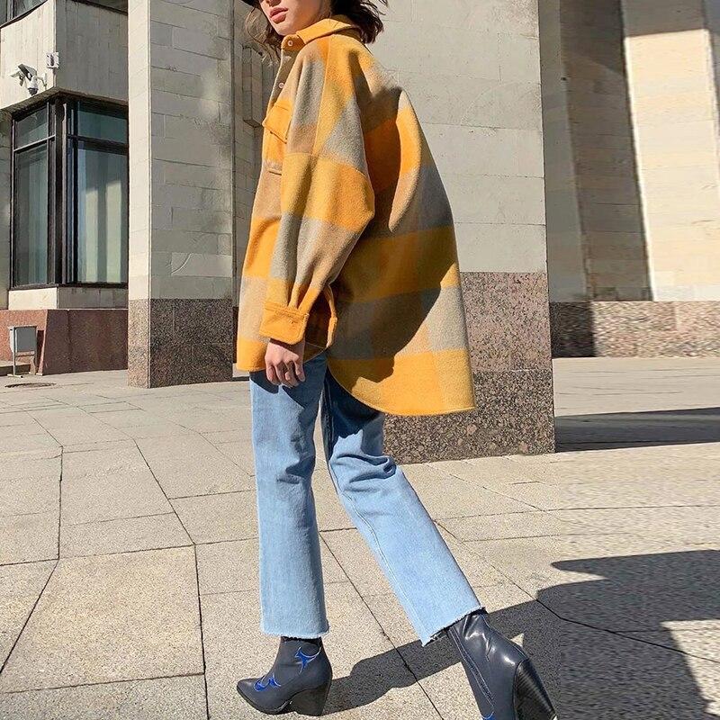 Gypsylady желтая винтажная толстая клетчатая куртка шерстяная