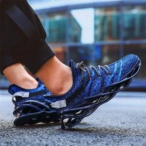 Image 4 - 高品質メンズランニングシューズアウトドアフライング織布通気性スポーツシューズ色戦い男性のカジュアルシューズ高弾性靴