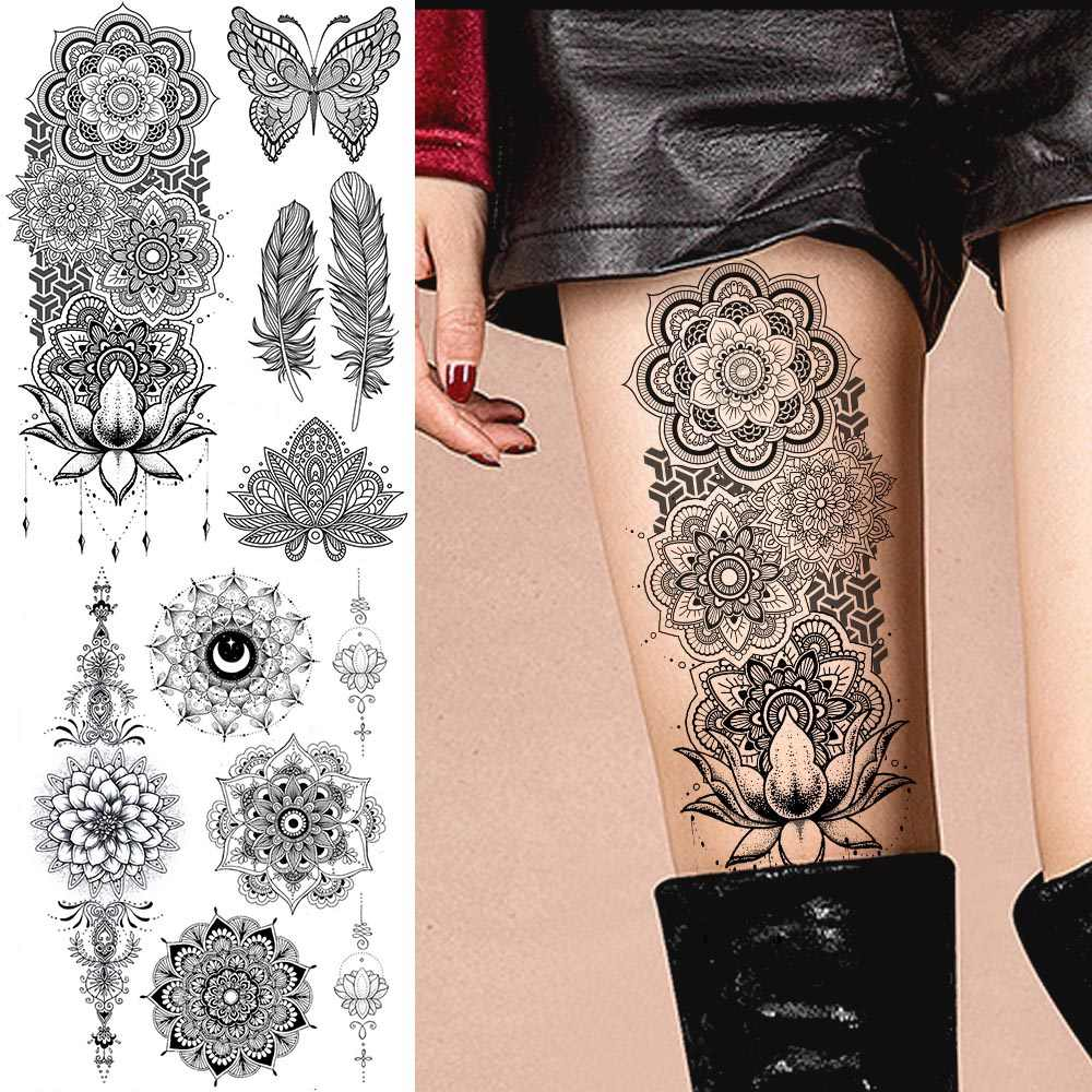 ladies mandala arm tattoo