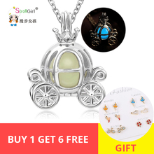 925 Sterling Silver Luminous Hollow Pumpkin Carriage Necklaces & Pendants For Women Glowing Chain Necklace Freeshipping Gifts