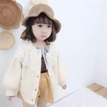 2019 Autumn Winter New Baby Girl Lace Collar Cardigan Sweater Children Girls Korean Jacket Toddler Knitted Outerwear Clothes N45(China)