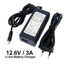 Liitokala cargador de batería de litio Serie 3, cargador de batería de litio de 12,6 V 3 A 18650 + cable de alimentación de CA