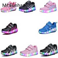 Children Glowing Sneakers Single Wheel Luminous LED Toddler Boys Girls Shoes Light Roller Runaway LED Kids Sports Shoes Sneakers