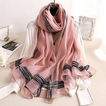2020 솔리드 줄무늬 실크 스카프 여성 부드러운 긴 가을 겨울 스카프 패션 Shawls 및 랩 고품질 Foulard Pashmina Hijab