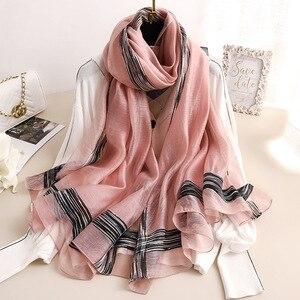 Image 1 - 2020 Solid Stripes Silk Scarf Women Soft Long Autumn Winter Scarves Fashion Shawls And Wraps High Quality Foulard Pashmina Hijab