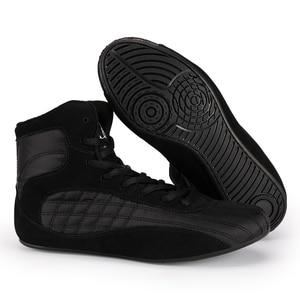 Zapatos de lucha de cuero genuino para hombre, zapatillas de boxeo transpirables para entrenamiento, antideslizantes, resistentes al desgaste, botas de combate
