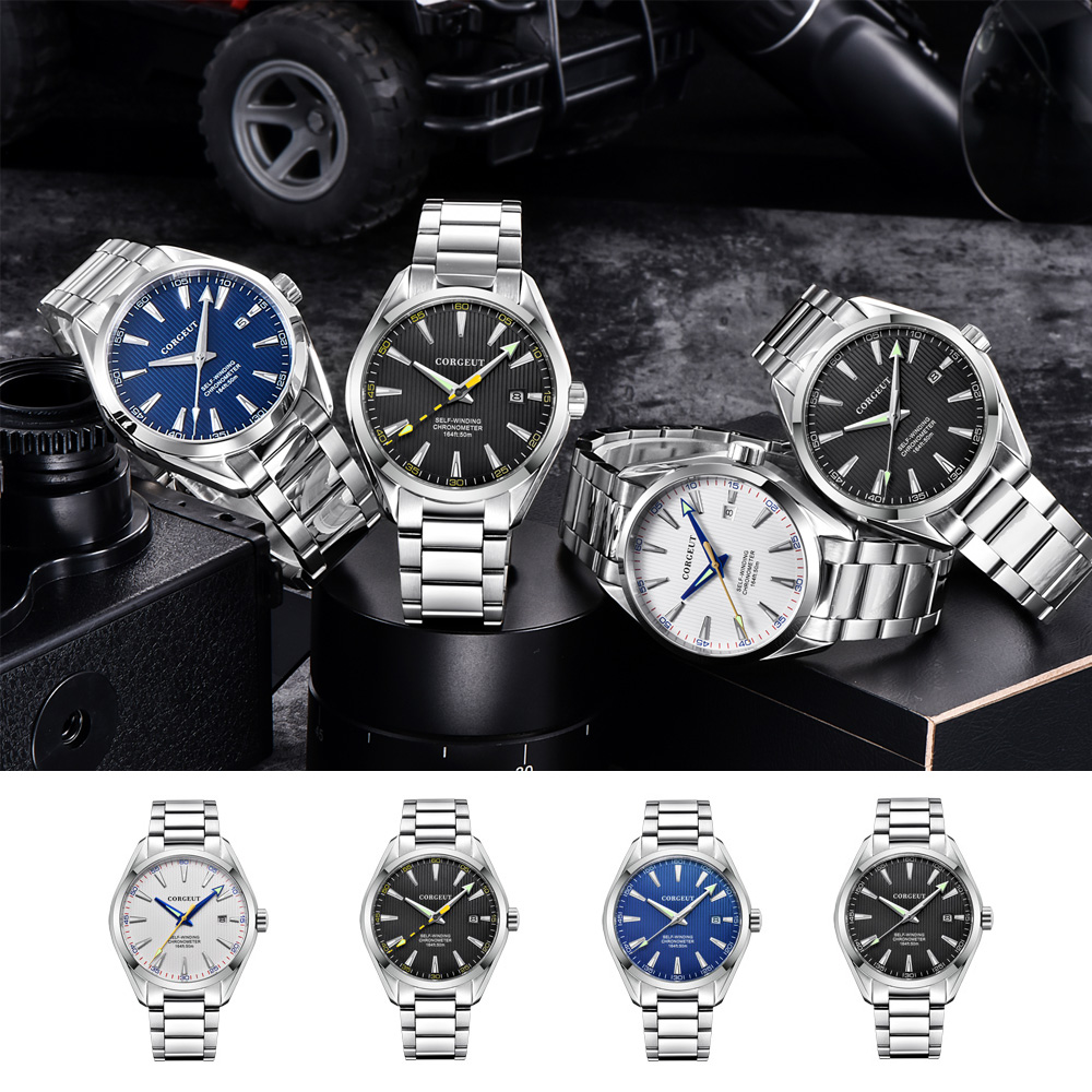 Corgeut 41mm Men Clock Miyota 8215 Automatic Calendar Date Mechanical Sapphire Glass Men Wristwatch Luxury Top Brand
