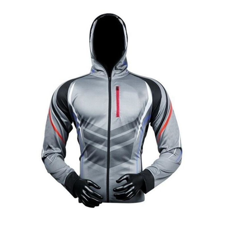 Men Zipper Hooded Fishing Clothing Breathable Sun UV Protection Fishing Clothes Outdoor Sportswear Clothes Fishing Shirt