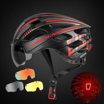 Especializado magnético ciclismo capacete da bicicleta viseira das mulheres dos homens ultraleve miopia mtb capacete com 3 óculos de lente removível 1