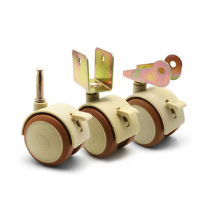 Image 3 - 4Pcs 2 Furniture Crib Swivel Casters Cabinet Clamp with Brake Wheels Nylon Furniture support leg for Chairs Baby Bed Trolley