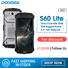 IP68 Wasser DOOGEE S60 Lite Drahtlose Lade 5580mAh 12V2A Quick Charge 5.2 FHD MT6750T Octa Core 4GB 32GB Smartphone 16,0 MP Cam