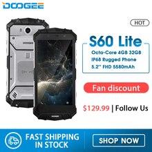 IP68 eau DOOGEE S60 Lite sans fil Charge 5580mAh 12V2A Charge rapide 5.2 FHD MT6750T Octa Core 4GB 32GB Smartphone 16.0MP Cam