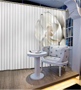 Cortina de oscurecimiento estereoscópica personalizada, cortinas blancas, diseño de flores, cortina de ventana para sala de estar o dormitorio